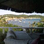 Blick beim Frühstück auf der Pool-Terrasse
