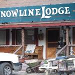Front entrance- lots of junk outside at Cyndi's Snowline lodge