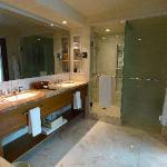 Bath has a mirror-TV