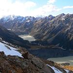 Looking up the Hooker Valley and the lakes