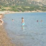 The pebbled beach
