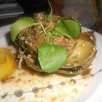 Whole Baked Artichoke with Sausage Crumbs, Mint and Fennel Pollen