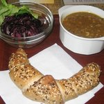 Lentil soup, red cabbage salad and seeds bread