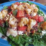 Grilled shrimp on mint-melon salad