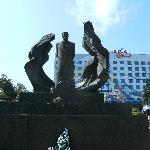Front of hotel and statue of literary hero Ivan Franko