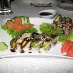 Dragon roll, salmon and eel sashimi