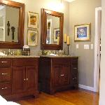 Granite Top Vanities in the Berllan Glyn Suite - Wide Plank Heart Pine Floors - Welsh Hills Inn.