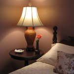 The Victorian dusty rose color infuses this room with warmth.  Comfy queen bed.