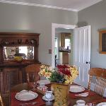 Enjoy homemade breakfast in this bright and cheerful dining room.