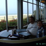 My son and I seated in our ocean front booth