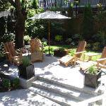 The sunny garden patio.