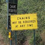 Chains may be required! sign