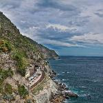 The view immediately upon arriving in Manarola