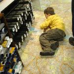 Jack on the floor at Stanfords Map shop