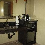 Wet bar with refrigerator & microwave
