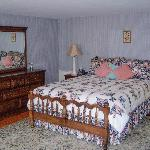 The Grey Room is very spacious with a Queen bed and private bath.