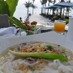 breakfast pho by the pool