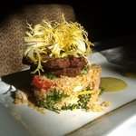 Appetizer special of Buffalo Creek Beef and LOCAL feta tabouli