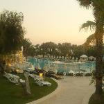 a look over the pool in the early evening