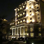 The rear of the hotel at night