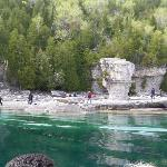 view of Flowerpot island from boat.