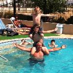 fun in the pool with new friends