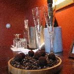 VA sparkling wine and home-made chocolates!