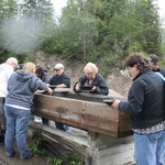 Our group gold panning at  Gold Nugget Mine on Porcupine Creek