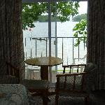 View from inside my room, looking out on the water.