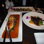 salmon cod and eggplant