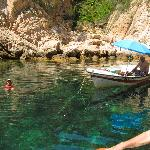we meet a swimmer in a secluded cove