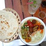Vegetarian falafel, laffa and fresh lemonade
