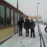 Outside Dennys during the storm