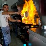 head chef in action!! kitchen on fire!! ;))