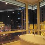 View from bathroom at night