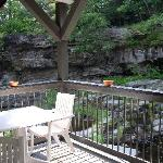 Bistro table which overlooks the waterfall