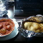 Chicken roll & a side of meatballs for my son & I
