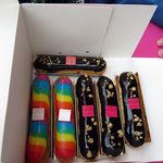 Chocolate and rainbow eclairs