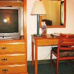 Chest of Drawers, TV, and Desk