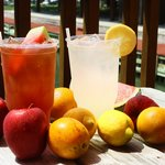 Our Fresh Fruit Iced Teas and Fresh Squeezed Lemonade out on the bayfront deck