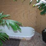 outdoor bath and shower area