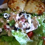 house salad with cheese bread.