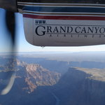 Flight over the canyon in 19-seat Vistaliner with over-sized windows.