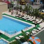 Karen hotel pool as seen from 4th floor of Sesin Hotel nextdoor