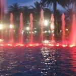coloured fountains at night