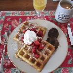 Light and fluffy homemade waffles with maple sausage. YUM!