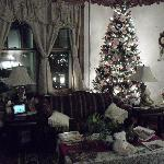 Cozy Victorian living room area for guests.
