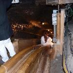 Wooden slide down the mine