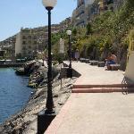 Walkway along bay where you can jump in