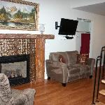 Fireplace, couch, chairs